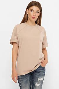 Однотонна трикотажна жіноча вільна футболка реглан (00 fup)