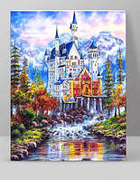 """Алмазная вышивка мозаика """"Сказочный замок Нойшванштайн Бавария"""" полная выкладка 25 на 35 см"""