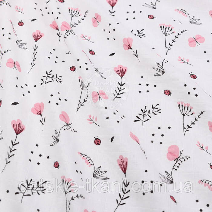 """Ткань муслин """"Розовые цветочки"""" на белом фоне"""