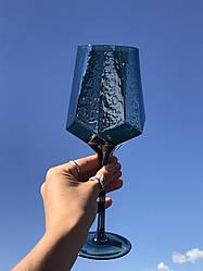 Набор 6 бокалов для вина из цветного стекла Кристалл морская волна 500 мл