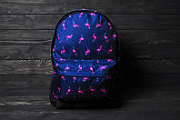 Рюкзак городской модный качественный молодежный с принтом Фламинго, цвет синий, фото 1