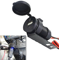 USB мото зарядка, 12-24 V WUPP, + крепление под болт, CS-223A1, врезная