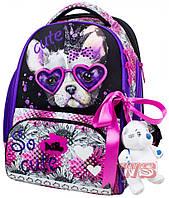 Рюкзак школьный для девочек DELUNE 10-001  серо-розовый