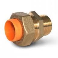 Муфта латунная для гофрированной газовой трубы Dispipe 20х3/4 газ наружная резьба, фото 1