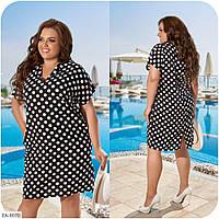 Натуральное женское прямое платье по колено в горошек больших размеров 48-66 арт 3355