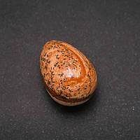 Яйцо сувенир из натурального камня Яшма Пейзажная, диаметр 35х25+-мм