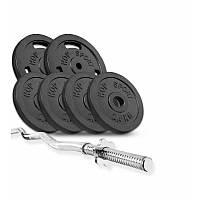 Штанка 28 кг с металлическими блинами Hop-Sport Strong силовой набор для жима гриф W-образный + блини D: 30 мм