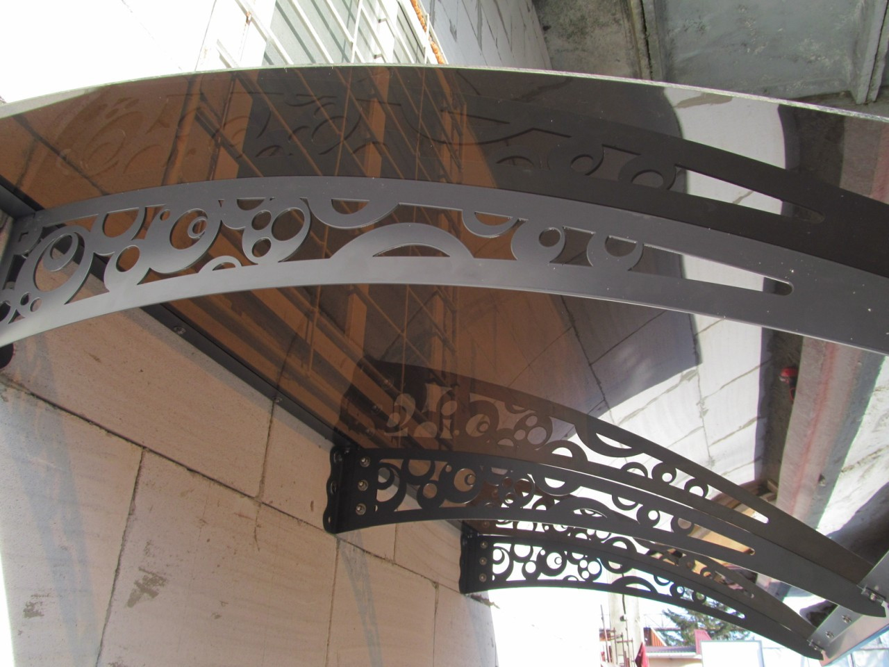 Металевий збірний дашок Dash'Ok Стиль 1,5м*1м з монолітним полікарбонатом 3мм