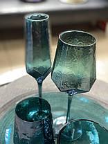 Набор 6 стаканов для напитков из цветного стекла Кристалл морская волна, фото 2