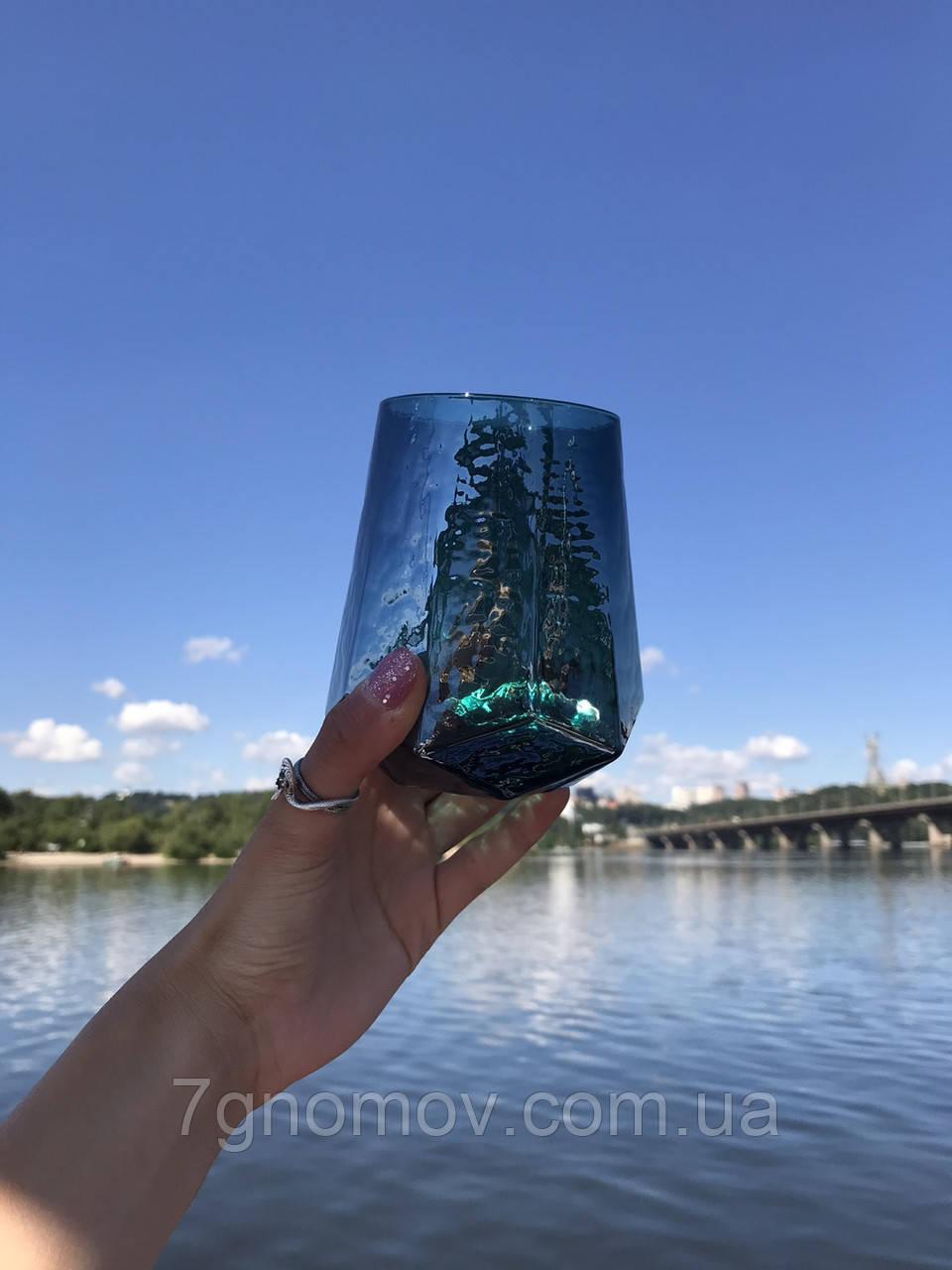 Набор 6 стаканов для напитков из цветного стекла Кристалл морская волна