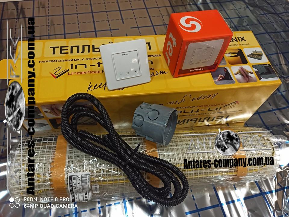 Нагревательный електрический мат для ванной комнаты, 11,6 м2 с сенсорным регулятором Terneo S