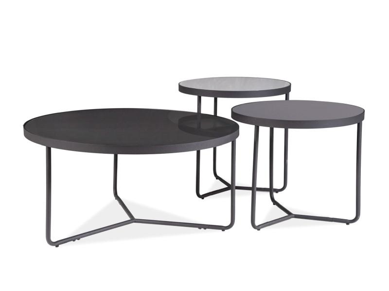 Набор журнальных столиков ARTEMIDA черный,+серый, черный (80x40, 50x50,50х45) (Signal)