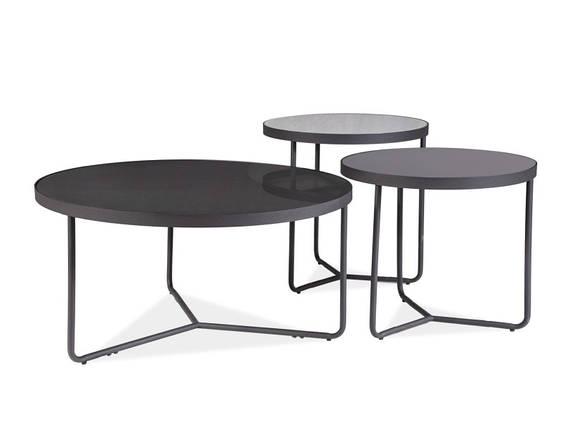 Набор журнальных столиков ARTEMIDA черный,+серый, черный (80x40, 50x50,50х45) (Signal), фото 2