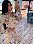 Женский костюм-тройка с эффектом тату: мастерка на молнии с капюшоном, штаны и топ, фото 2