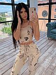 Женский костюм-тройка с эффектом тату: мастерка на молнии с капюшоном, штаны и топ, фото 4