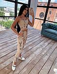 Женский костюм-тройка с эффектом тату: мастерка на молнии с капюшоном, штаны и топ, фото 3