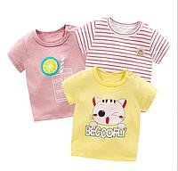 Набор из 3 детских футболок с короткими рукавами из хлопка (размеры 1-4 года)