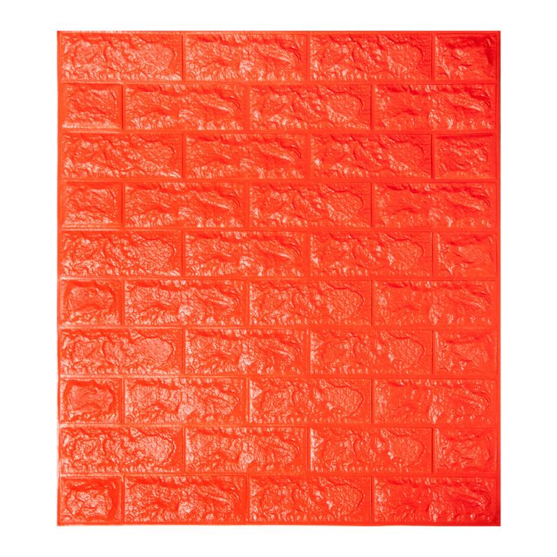Панель стінова 3D Wall Sticker самоклеюча 70х77 см цегла ПОМАРАНЧЕВИЙ Os-BG07