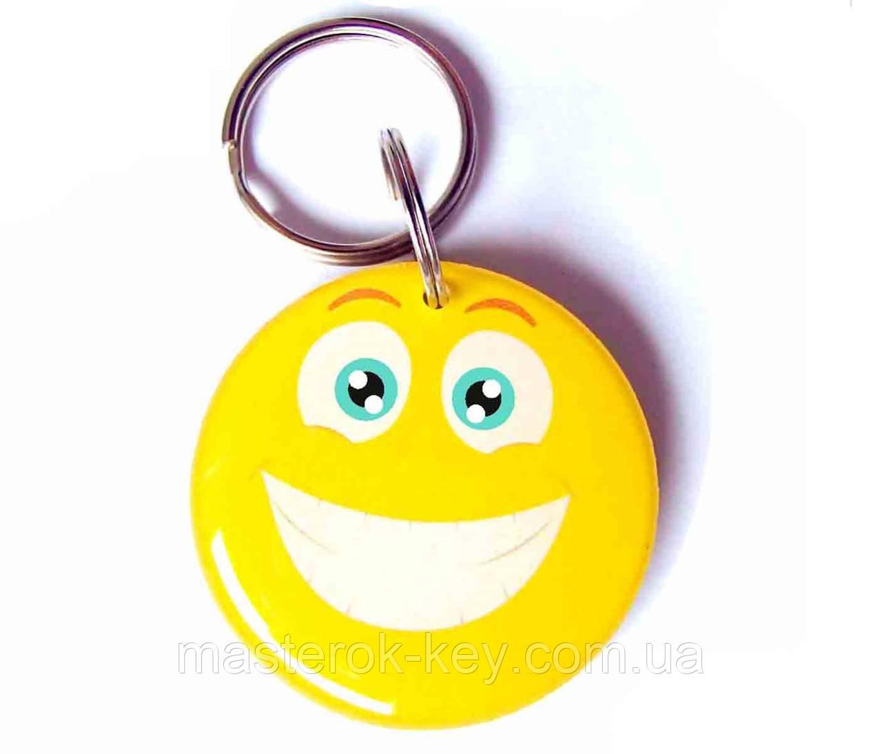 Заготовка ключа для домофона RFID 5577 перезаписываемая Смайлик d35 13694