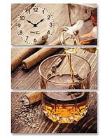 Часы настенные на холсте Виски 44,5*64см