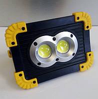 Прожектор акумуляторний LED 20W OSL+COB 300Lm + 300Lm 6500K IP65 жовто-чорний/ LMP90 з USB, фото 1