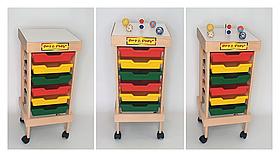 Мобільний стелаж Art&Play® для зберігання дидактичних матеріалів, дерево