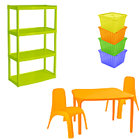 Комплект детской мебели Малыш 3 стол + 2 стула + стеллаж + 4 емкости для игрушек 18-100-34, КОД: 1130296