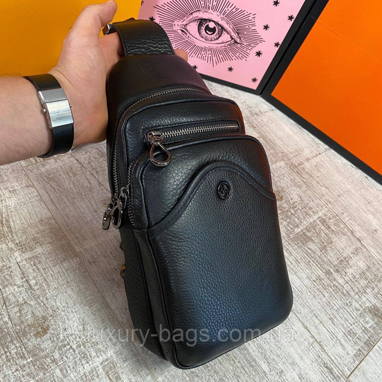 Кожаная нагрудная сумка слинг H.T leather