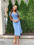 Летнее  платье  на запах в горошек с мягкой драпировкой на талии, 5цветов, Р-р.42-44,44-46 Код 438Ц, фото 2