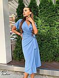 Летнее  платье  на запах в горошек с мягкой драпировкой на талии, 5цветов, Р-р.42-44,44-46 Код 438Ц, фото 3