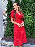 Летнее  платье  на запах в горошек с мягкой драпировкой на талии, 5цветов, Р-р.42-44,44-46 Код 438Ц, фото 8