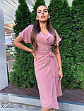 Летнее  платье  на запах в горошек с мягкой драпировкой на талии, 5цветов, Р-р.42-44,44-46 Код 438Ц, фото 9