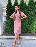 Летнее  платье  на запах в горошек с мягкой драпировкой на талии, 5цветов, Р-р.42-44,44-46 Код 438Ц, фото 10