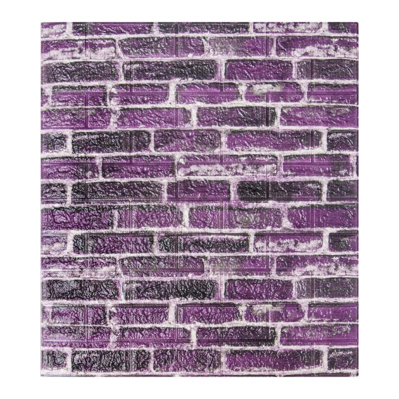 Панель стінова 3D Wall Sticker самоклеюча 70х77 см цегла ФІОЛЕТОВИЙ КАТЕРИНОСЛАВСЬКИЙ ЦЕГЛА