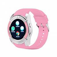 Наручные женские смарт часы V8 Smart Watch, розовые