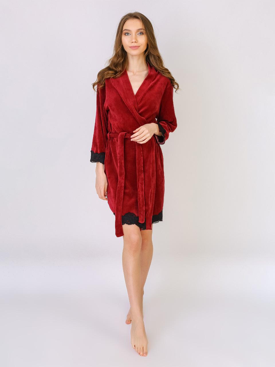 Комплект тройка, халат с пижамой хлопок велюр Serenade бордовый с черным кружевом