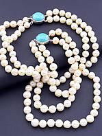 Комплект украшений для женщин из натуральных камней прессованной бирюзы и речного жемчуга бусы и браслет