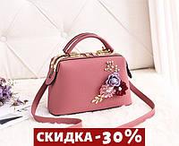 Модная Сумка женская с цветами Розовый