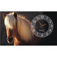 Часы настенные на холсте Лошади 50*30см