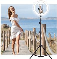Кольцевая лампа со штативом 200см и держателем для телефона AMAI LED 36см, фото 1