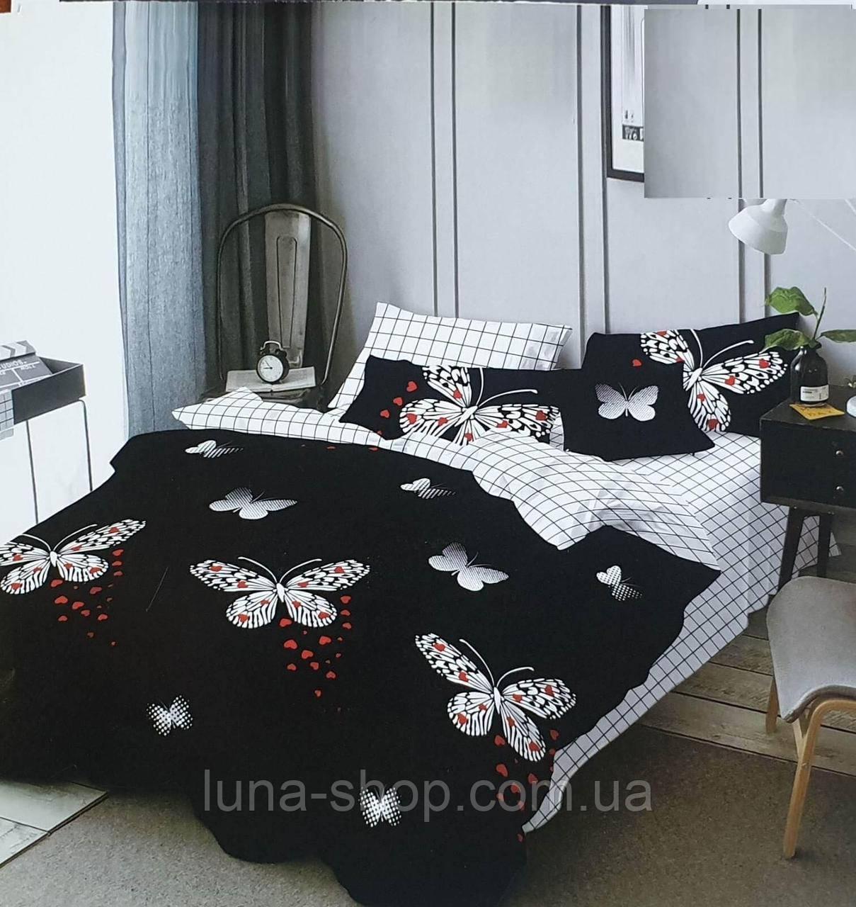 Постельный комплект Бабочки на черном (бязь)
