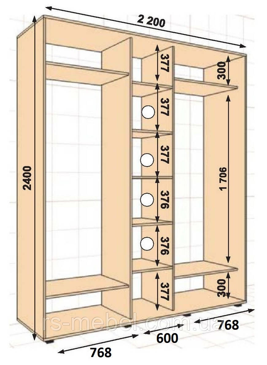 Шкаф-купе 2200*600*2400, 3 двери (Алекса)