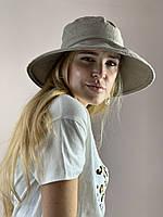Шляпа панама женская льняная натуральная стильная летняя   темно-бежевая