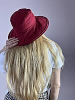 Шляпа панама женская льняная натуральная стильная летняя бордовая