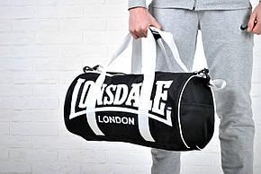 Сумка спортивная Lonsdale London. Для тренировок. Черная с белым, фото 2