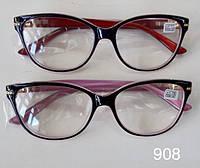 Стильные женские очки для зрения бабочки Модель 908 красные розовые от +1,0 до +4,0, фото 1