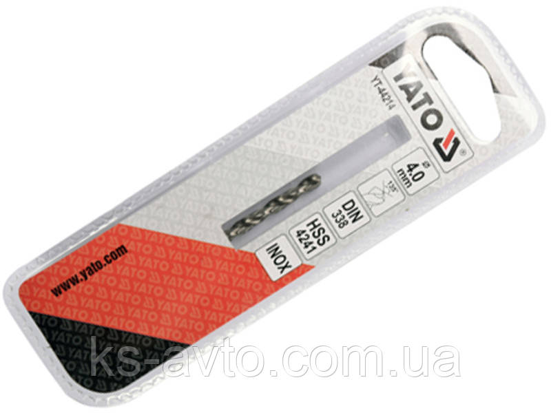 Сверло по металлу PREMIUM к нержавеющей и високолегированной стали, литья 4.0х75 мм HSS 4241 YATO