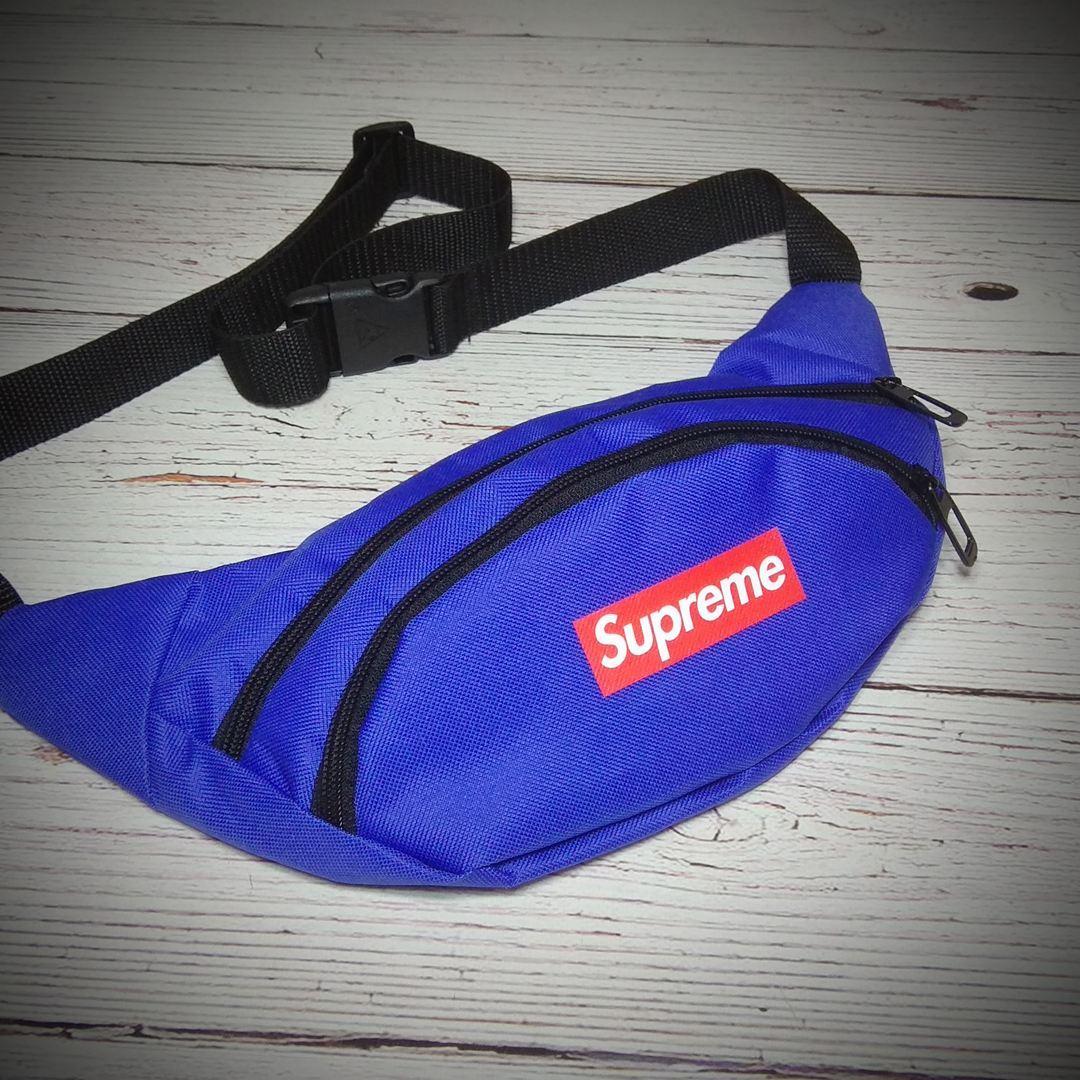 Поясная сумка, Бананка, барсетка суприм, Supreme. Синяя