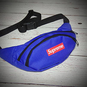 Поясная сумка, Бананка, барсетка суприм, Supreme. Синяя, фото 2