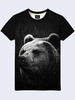 Чёрная мужская футболка с принтом Медведь